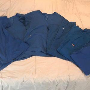 3 Pairs of Royal Blue Scrubs